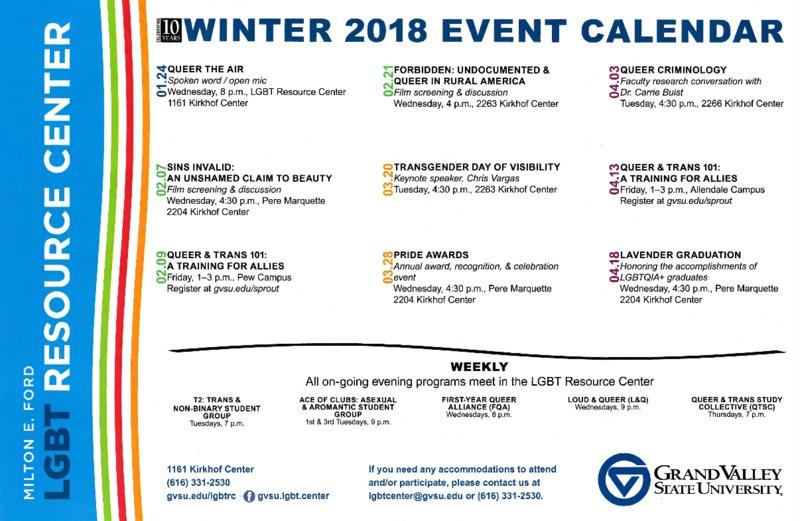 Go to Winter  2018 Event Calendar item page
