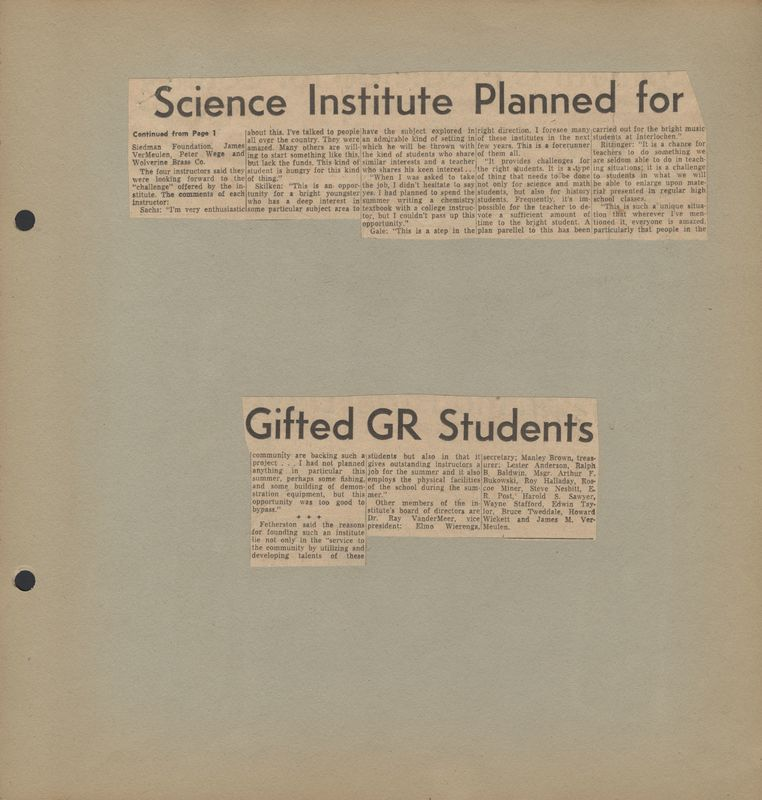 Go to Science institute planned for gifted Grand Rapids students item page