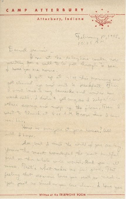 "Letter to Jean Worthington by Edward ""Ned"" Manley, February 18, 1945."