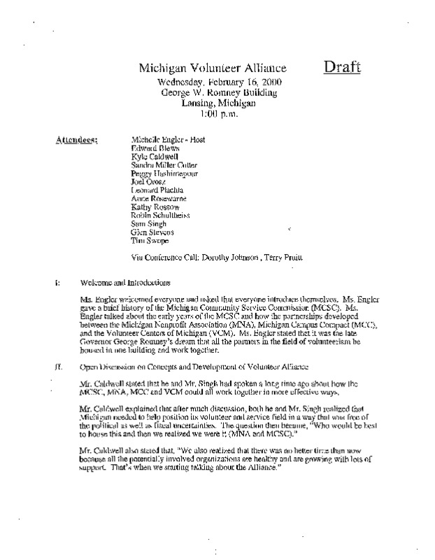 Go to ConnectMichigan Alliance 2000-02-16 Michigan Volunteer Alliance meeting draft item page