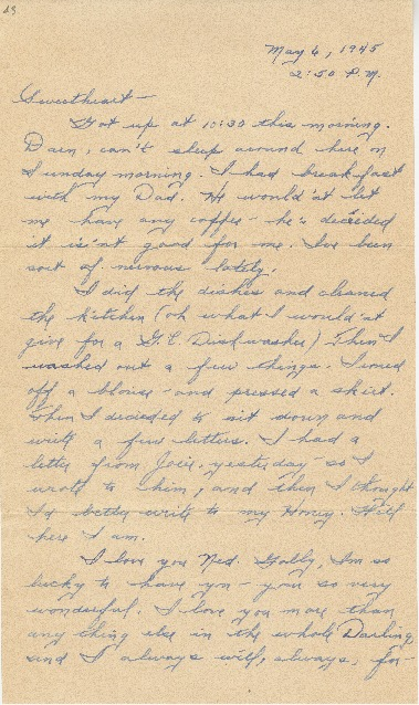 "Go to Letter to Edward ""Ned"" Manley by Jean Worthington, May 06, 1945. item page"