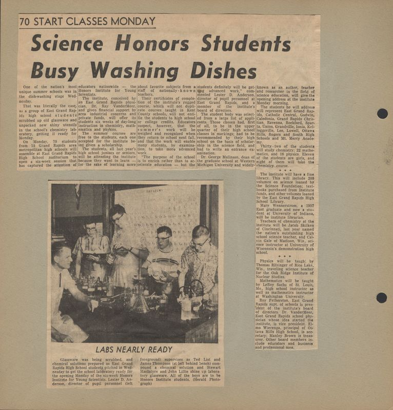 Go to Science honors students busy washing dishes item page