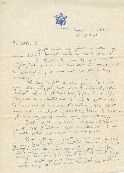 "Go to Letter to Jean Worthington by Edward ""Ned"" Manley, April 15, 1945. item page"