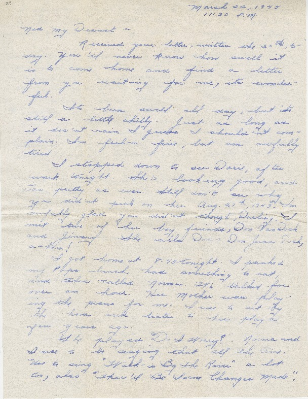 "Go to Letter to Edward ""Ned"" Manley by Jean Worthington, March 22, 1945. item page"
