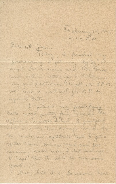 "Go to Letter to Jean Worthington by Edward ""Ned"" Manley, February 19, 1945. item page"