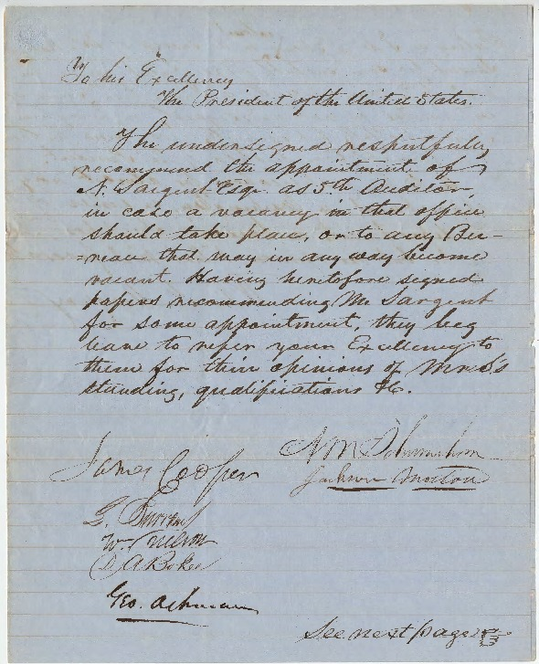 Petition for U.S. Auditor position, February 28, 1851