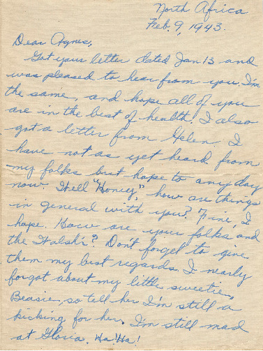 Go to Letter from Joe Olexa to Agnes Van Der Weide, February 9, 1943 item page