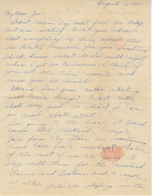 Go to Letter from Agnes Van Der Weide to Joe Olexa, August 17, 1944 item page