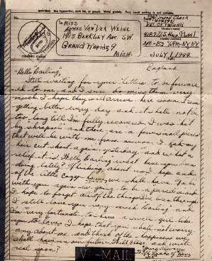 Go to Letter from Joe Olexa to Agnes Van Der Weide, July 1, 1944 item page