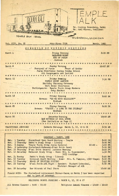 Go to Temple B'nai Israel Bulletin, March 4, 1966 item page