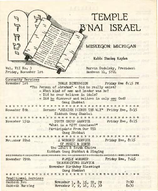 Go to Temple B'nai Israel Bulletin, November 1, 1963 item page
