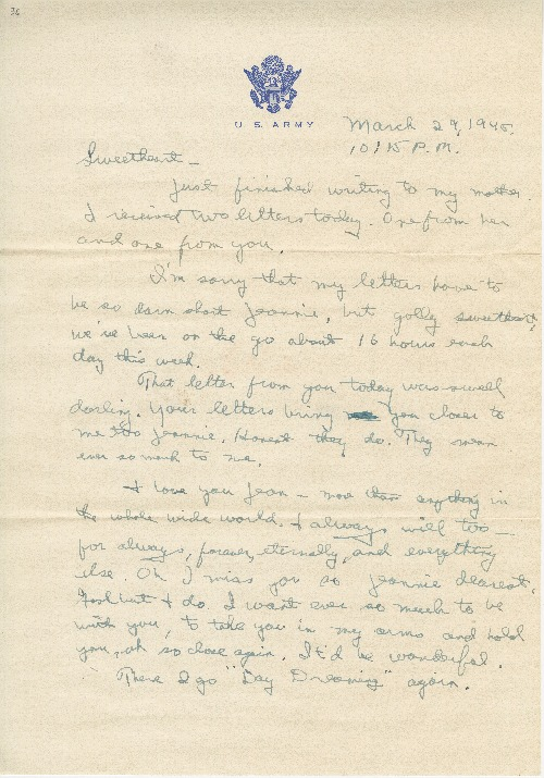 "Go to Letter to Jean Worthington by Edward ""Ned"" Manley, March 29, 1945. item page"