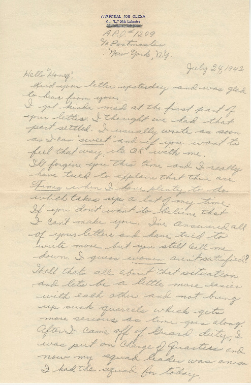 Go to Letter from Joe Olexa to Agnes Van Der Weide, July 24, 1942 item page
