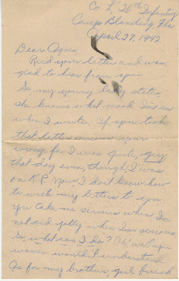 Go to Letter from Joe Olexa to Agnes Van Der Weide, April 27, 1942 item page