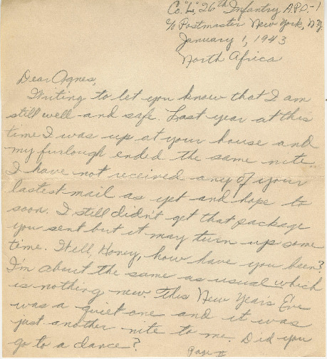 Go to Letter from Joe Olexa to Agnes Van Der Weide, January 1, 1943 item page