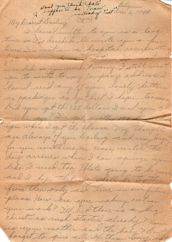 Go to Letter from Joe Olexa to Agnes Van Der Weide, December 3, 1944 item page