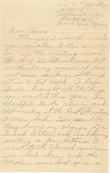 Go to Letter from Joe Olexa to Agnes Van Der Weide, December 25, 1942 item page