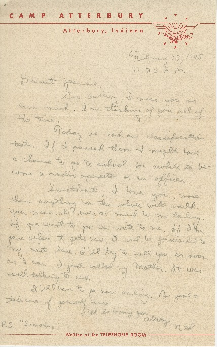 "Go to Letter to Jean Worthington by Edward ""Ned"" Manley, February 17, 1945. item page"
