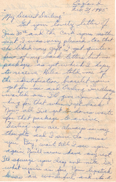Go to Letter from Joe Olexa to Agnes Van Der Weide, February 21, 1945 item page