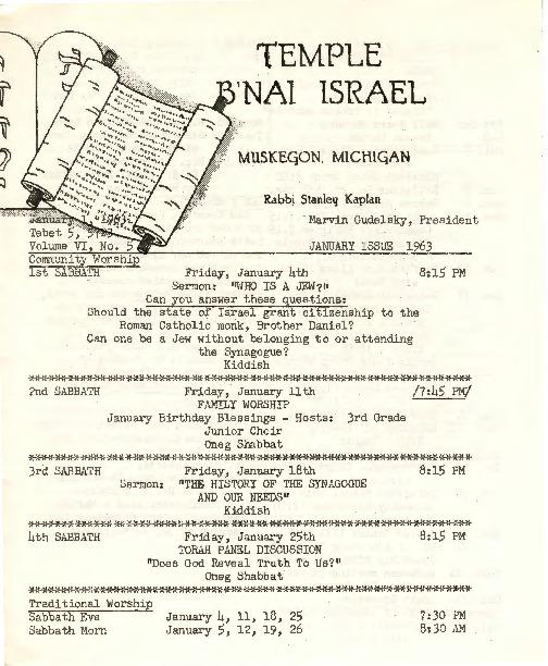 Go to Temple B'nai Israel Bulletin, January 1, 1963 item page