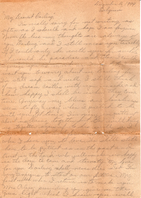 Go to Letter from Joe Olexa to Agnes Van Der Weide, December 16, 1944 item page