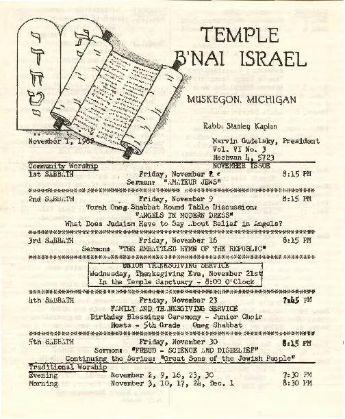 Go to Temple B'nai Israel Bulletin, November 1, 1962 item page