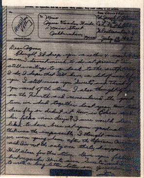 Go to Letter from Joe Olexa to Agnes Van Der Weide, July 19, 1943 item page
