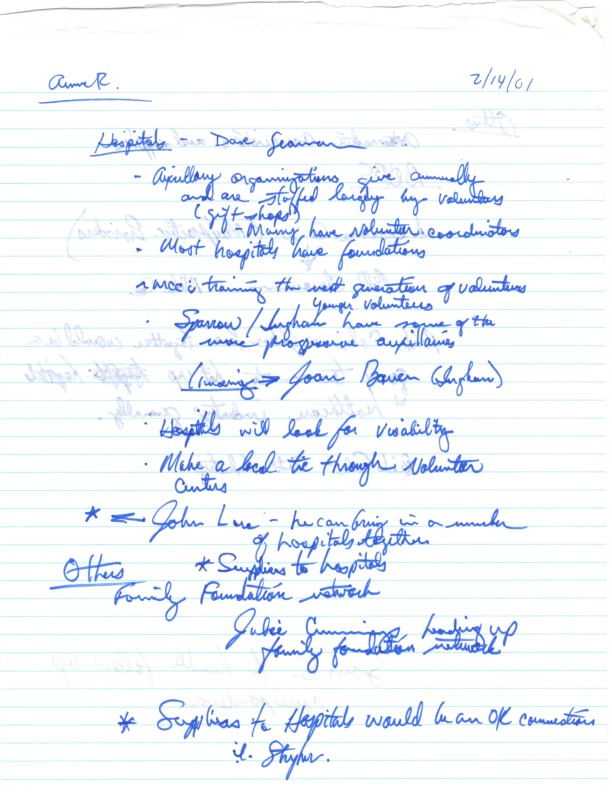 Go to ConnectMichigan Alliance 2001-02-14 Anne Rosewarne notes item page