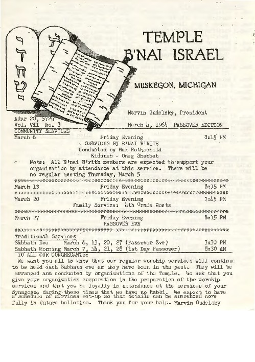 Go to Temple B'nai Israel Bulletin, March 4, 1964 item page