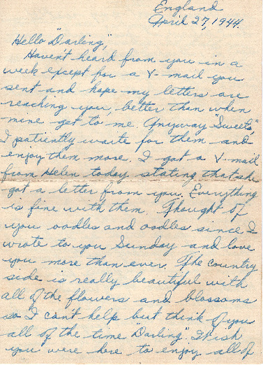 Go to Letter from Joe Olexa to Agnes Van Der Weide, April 27, 1944 item page