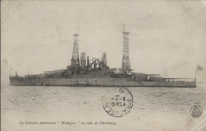 Go to U.S.S. Michigan en route to Cherbourg item page
