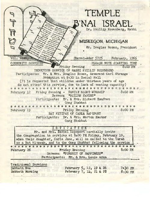 Go to Temple B'nai Israel Bulletin, February 1965 item page