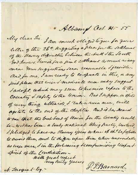 Go to Nathan Sargent from Daniel Dewey Barnard, October 31, 1855 item page