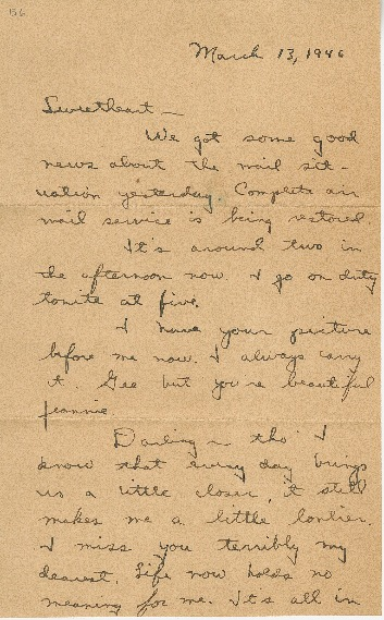 "Go to Letter to Jean Worthington by Edward ""Ned"" Manley, March 13, 1946. item page"