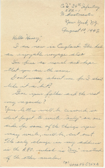 Go to Letter from Joe Olexa to Agnes Van Der Weide, August 10, 1942 item page