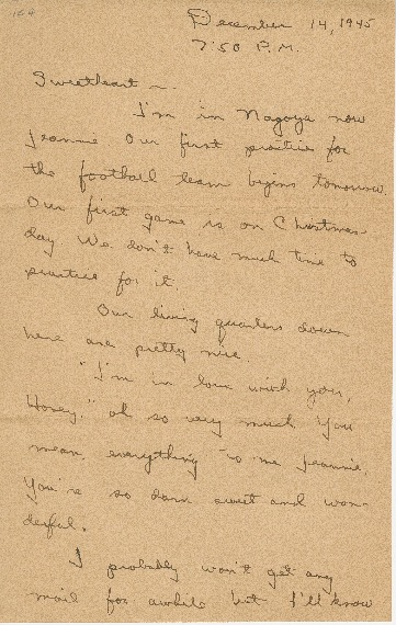"""Go to Letter to Jean Worthington by Edward """"Ned"""" Manley, December 14, 1945. item page"""