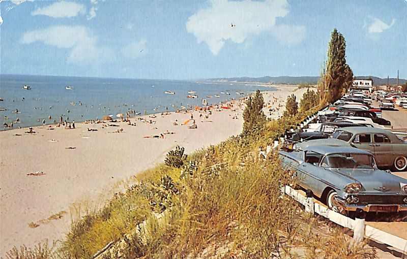 Go to View overlooking Oval Beach, Saugatuck, Mich. postcard item page