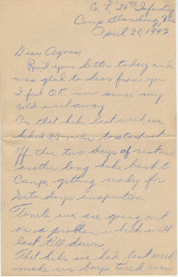 Go to Letter from Joe Olexa to Agnes Van Der Weide, April 20, 1942 item page