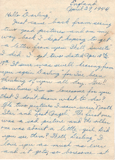 Go to Letter from Joe Olexa to Agnes Van Der Weide, April 29, 1944 item page