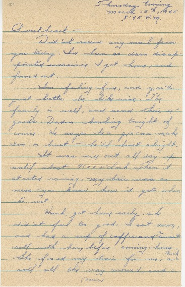 "Go to Letter to Edward ""Ned"" Manley by Jean Worthington, March 15, 1945. item page"