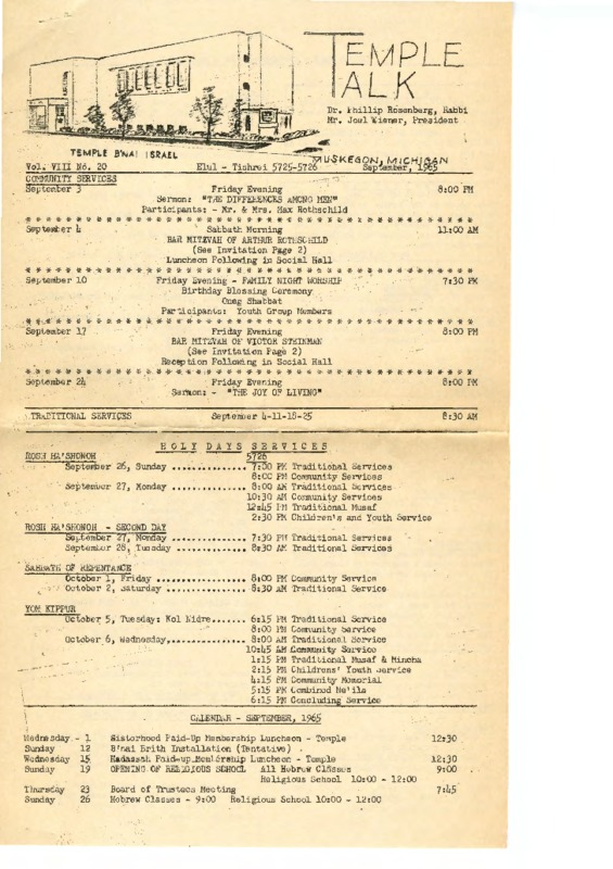 Go to Temple B'nai Israel Bulletin, September 1965 item page