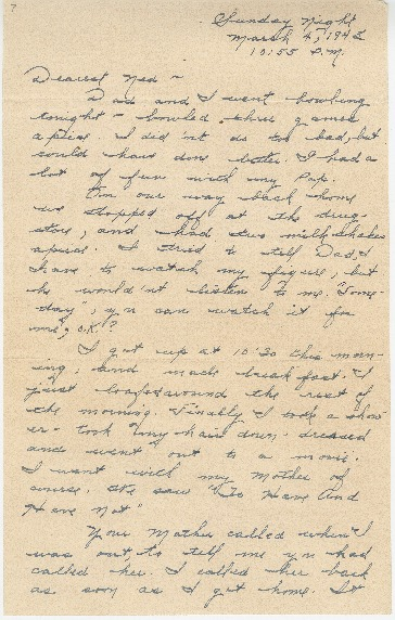 "Go to Letter to Edward ""Ned"" Manley by Jean Worthington, March 04, 1945. item page"