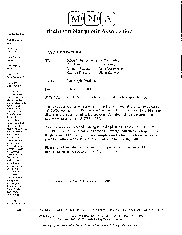 Go to ConnectMichigan Alliance 2000-02-11 MNA Volunteer Alliance Committee 2000 item page