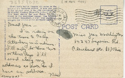 "Go to Postcard to Jean Worthington by Edward ""Ned"" Manley, February 15, 1945. item page"