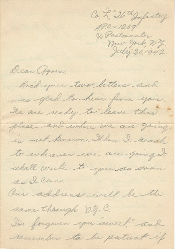 Go to Letter from Joe Olexa to Agnes Van Der Weide, July 30, 1942 item page