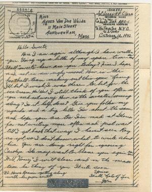 Go to Letter from Joe Olexa to Agnes Van Der Weide, October 10, 1942 item page