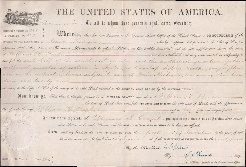 Homestead Certificate, 1869