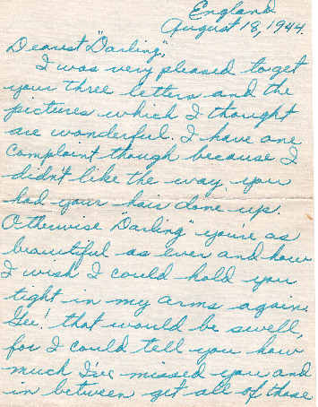 Go to Letter from Joe Olexa to Agnes Van Der Weide, August 18, 1944 item page