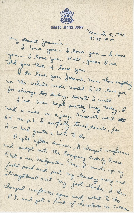 """Go to Letter to Jean Worthington by Edward """"Ned"""" Manley, March 05, 1945. item page"""