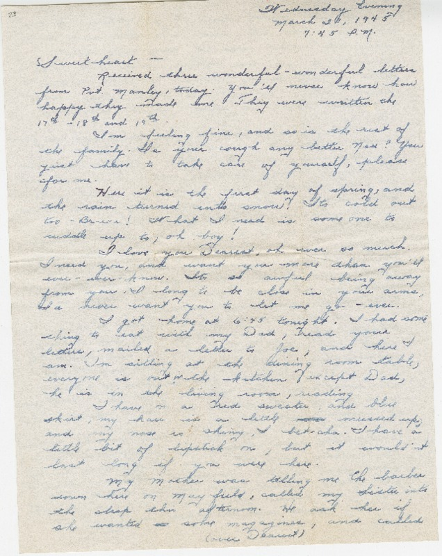 "Go to Letter to Edward ""Ned"" Manley by Jean Worthington, March 21, 1945. item page"